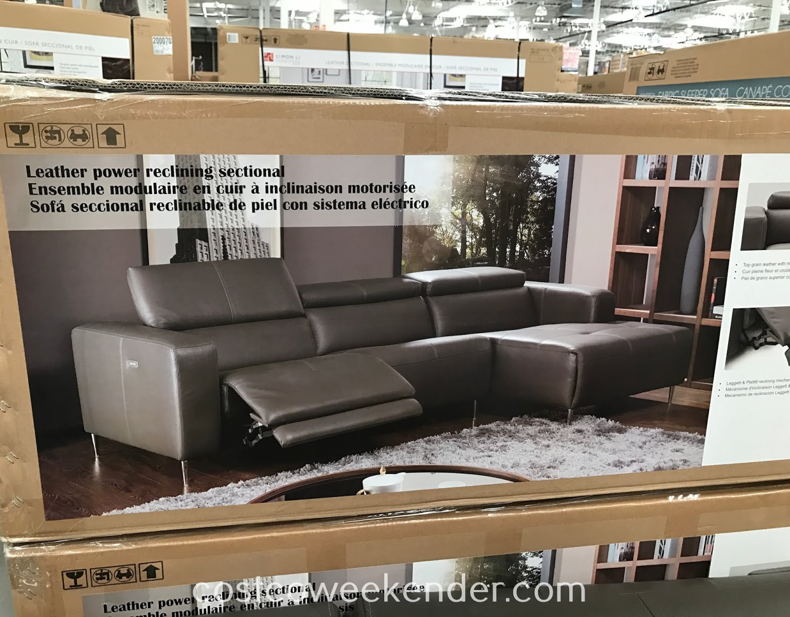 Chill in front of the TV or simply take a much needed nap on the Leather Power Reclining Sectional