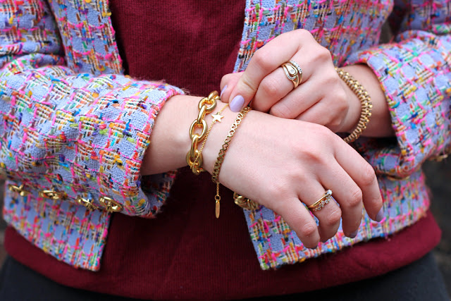 Gold jewellery and vintage Jaeger jacket - UK style blog