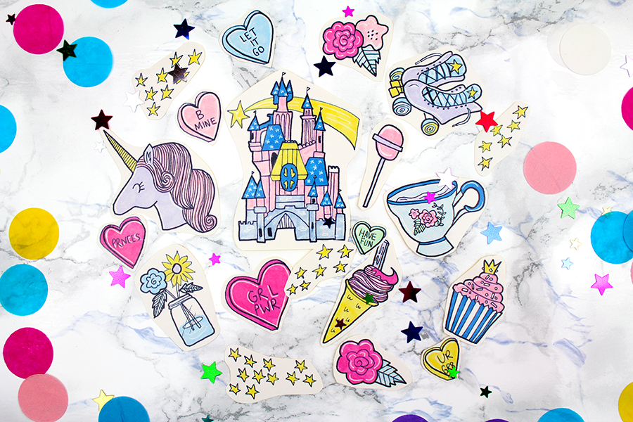 colourful princess stickers