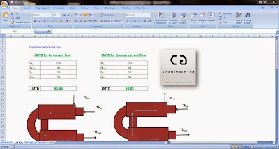 LMTD excel calculator by Chemineering.blogspot.com