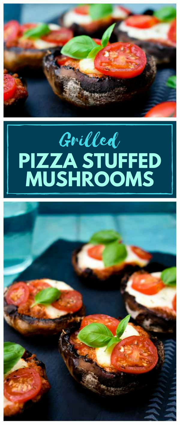 The oozy cheese and tomato filling for these smokey, succulent grilled mushrooms is inspired by pizza toppings. These stuffed mushrooms can be served vegetarian and vegan depending on which cheese you use. Cook on the BBQ or in the oven. #stuffedmushrooms #grilledmushrooms #pizzamushrooms #pizza #BBQ #Grilling #vegetarian #mushrooms #stuffedvegetables