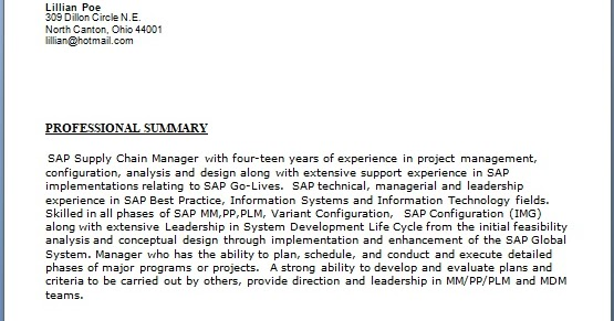 sap supply chain functional manager sample resume format