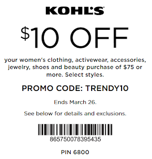 Kohls coupon $10 off $75 Women's Clothing