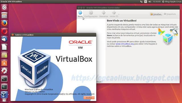 Oracle VirtualBox versão 5.0.20 executando no Ubuntu 16.04 LTS (Xenial Xerus)