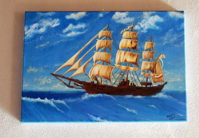 Marina al óleo Antiguo galeón