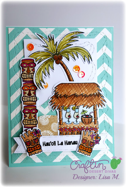 Island Paradise handmade card featuring stamped tiki hut, drinks, palm tree and sentiments