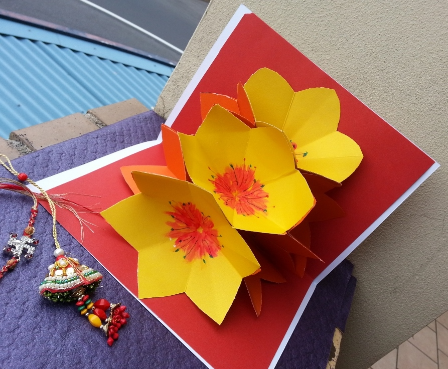 life's little treasures rakhi card with pop up flowers