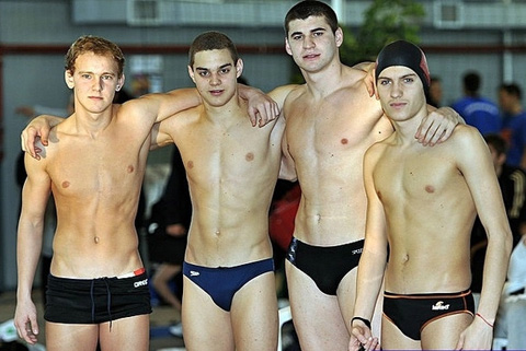 Guys swimmming naked