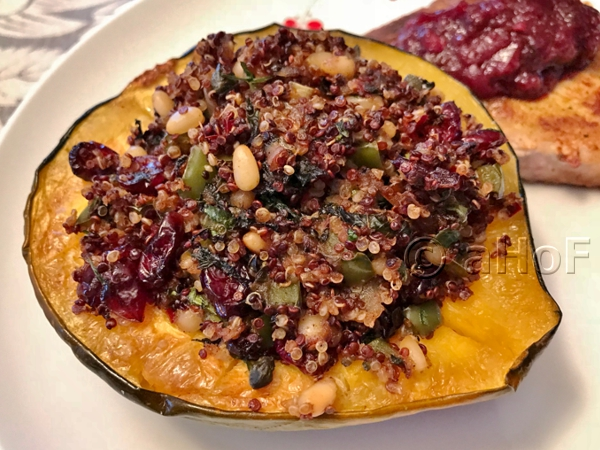 Quinoa Pilaf in Acorn Squash