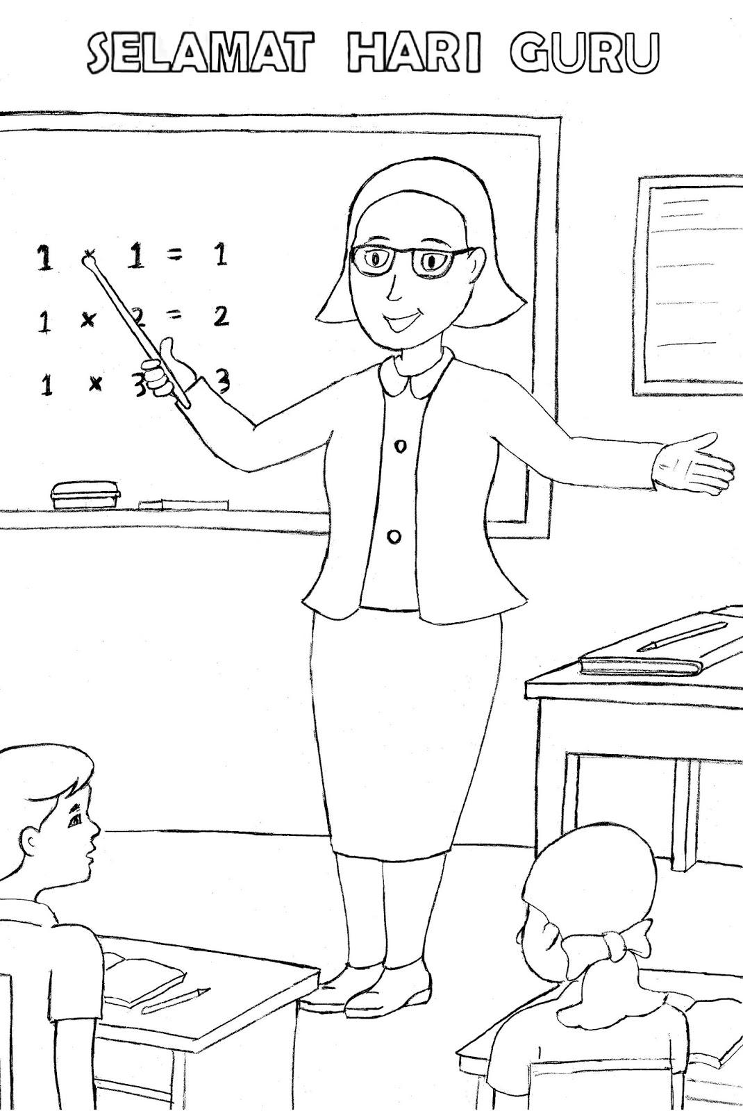 Gambar Mewarnai Hari Guru Mengajar Murid Di Kelas Colouring Teachers Day