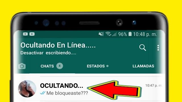 Asi podemos ocultar en linea y el escribiendo en whatsapp
