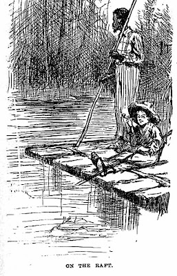 Huckleberry Finn and Jim on their raft