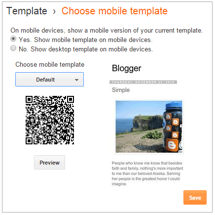 Default Mobile Templates on Blogger