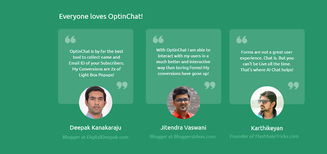 OptinChat Testimonials