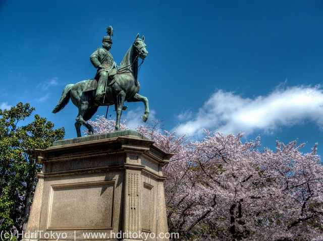 bronze statue of  a nobleman riding his horse. cherry blossoms blooming by the statue.