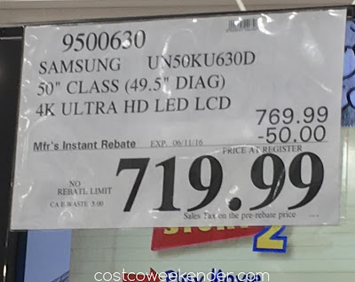Deal for the Samsung UN50KU630D 4k UHD tv at Costco