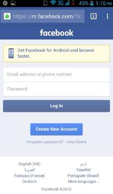 Login facebook in mobile browser