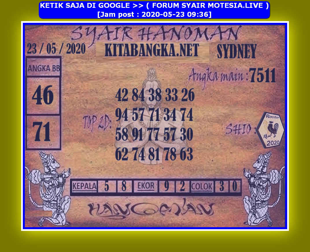 Kode syair Sydney Sabtu 23 Mei 2020 157
