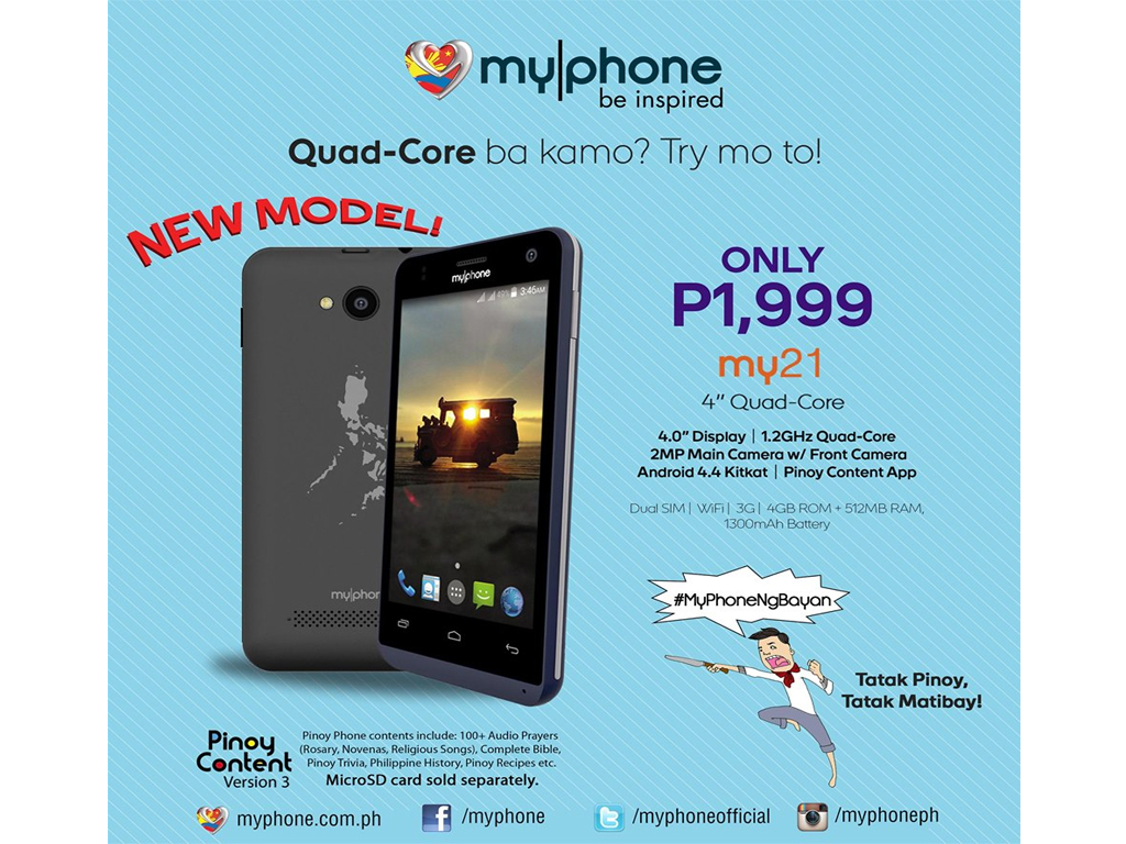 MyPhone My21: A Very Affordable 4-inch, Quad-Core Smartphone for Only Php1,999!