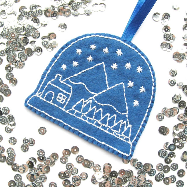 Embroidered Snow Globe Christmas Ornament Tutorial