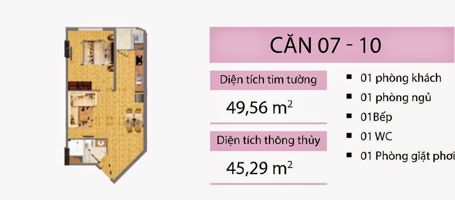 Căn 49,56 m2 CT2B Nghĩa Đô