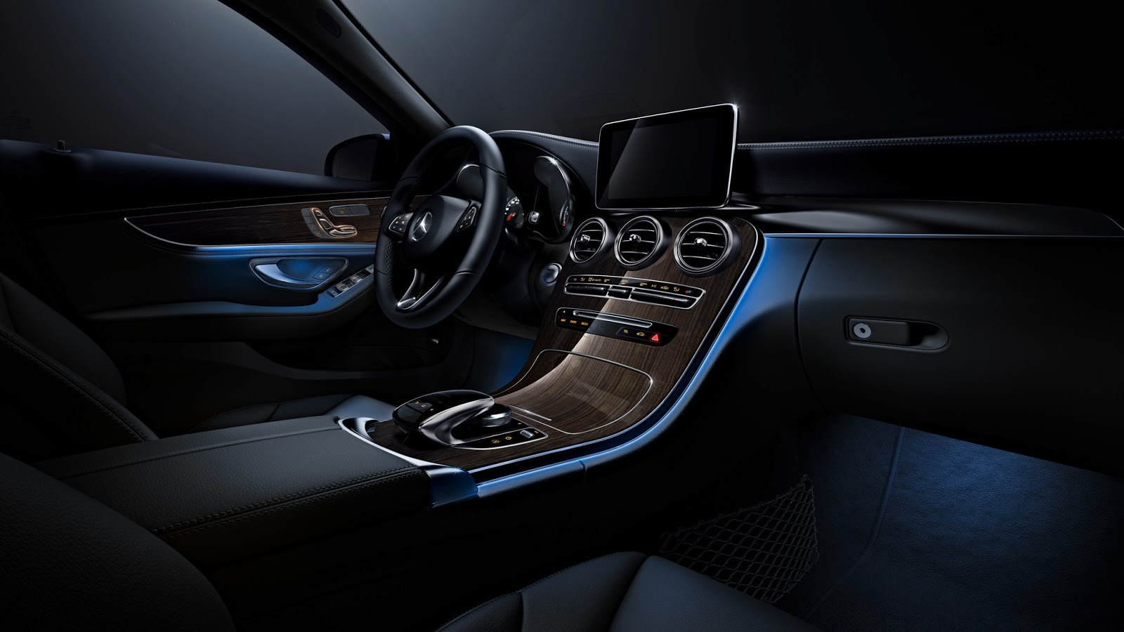 mercedes benz c class receives s class inspired ambient lighting carscoops. Black Bedroom Furniture Sets. Home Design Ideas