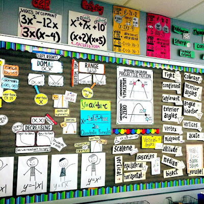 high school math word wall ideas - here is a photo of our classroom bulletin board with Algebra 2 references