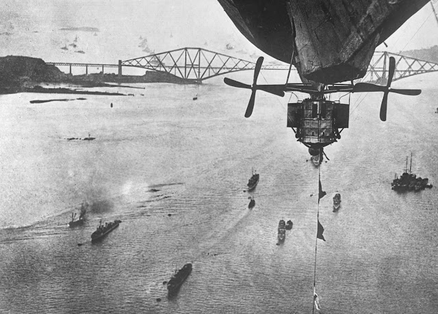 British fleet in the Firth of Forth. Original caption: taken from a rigid balloon showing the English fleet in the Firth of Forth where the German fleet was turned over to the allies.