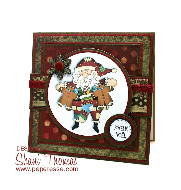 Christmas card featuring digital topper from Cheryl Seslar Santa Claus is Coming to Town set, by Paperesse.