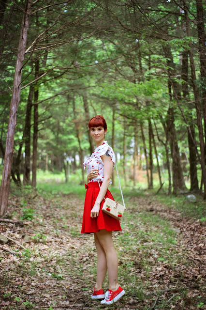 Cherry top, cherry purse, red bow skirt, chicwish, shein, reviews, blogger, outfit inspiration