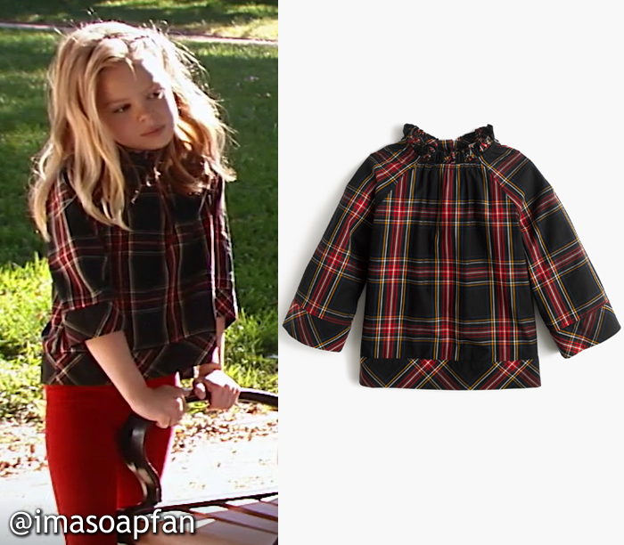 Charlotte Cassadine, Scarlet Fernandez, Plaid Shirt with Ruffled Neckline, J. Crew, GH, General Hospital, Season 55, Episode 05/08/17
