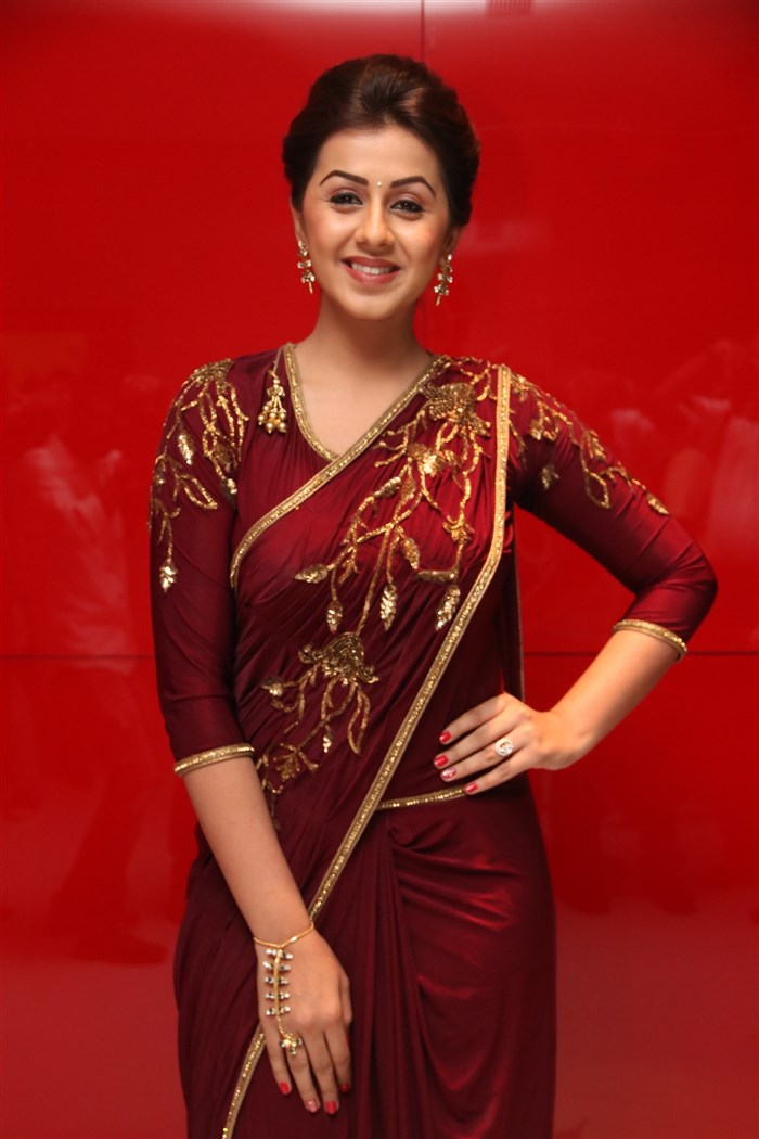 Nikki Galrani Stills at Marakathamani Audio Launch In Saree