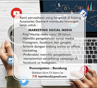 Lowongan Marketing Social Media di Top Triland Bandung