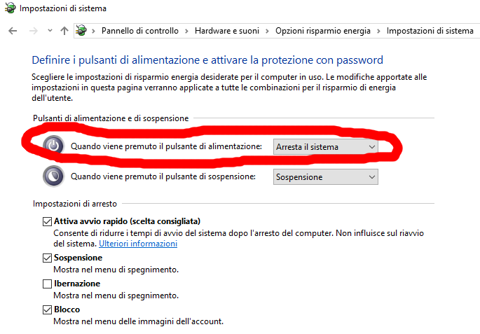 disabilitare Avvio rapido Windows 10