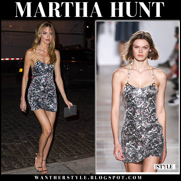 Martha Hunt in sequin pearl embellished mini dress from sonia rykiel model party style april 30