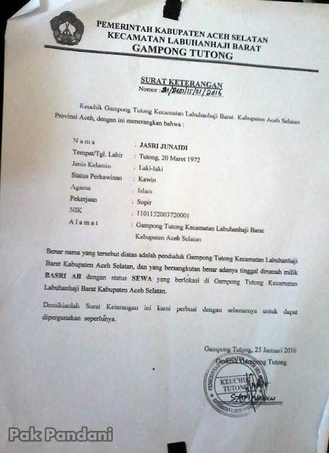 Contoh Surat Keterangan Status Sewa Rumah Dari Kepala Desa Geuchik