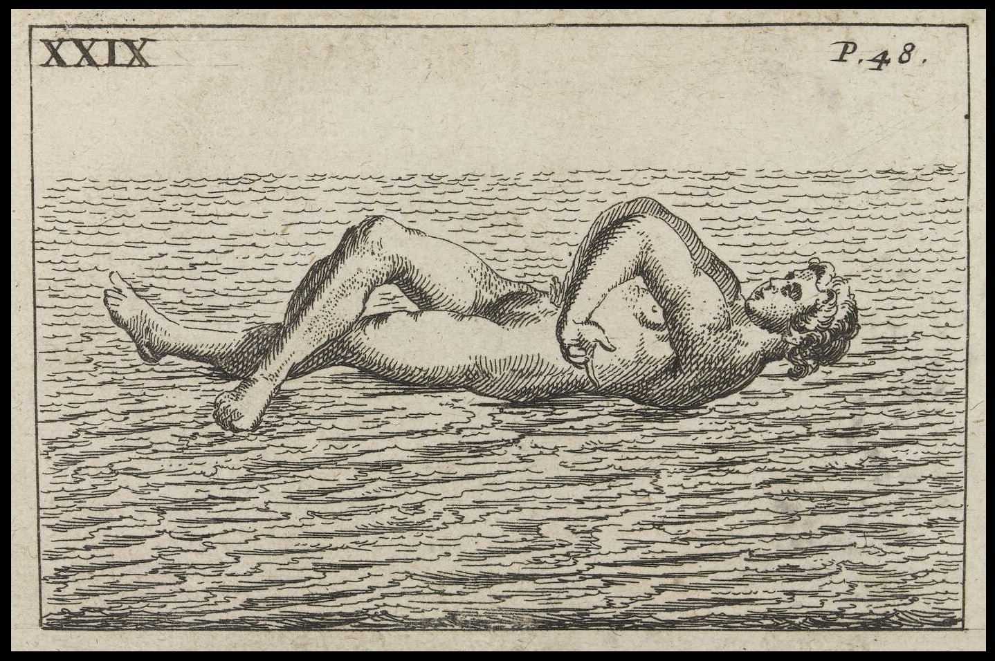 awkward swimmer pose in early modern swimming treatise