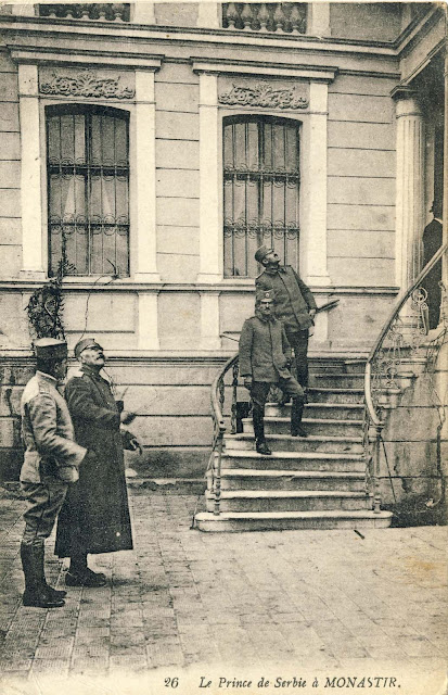 Prince Aleksandar Karadjordjevic and General Sarrail, accompanied by their commanders outside the today's Rector building of University St. Kliment Ohridski, in Bitola in November 1916.