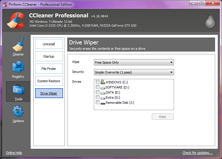 ccleaner free  windows 7 2012