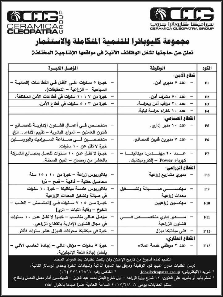 وظائف خالية فى مجموعة شركات كليوباترا للاستثمار فى مصر 2018