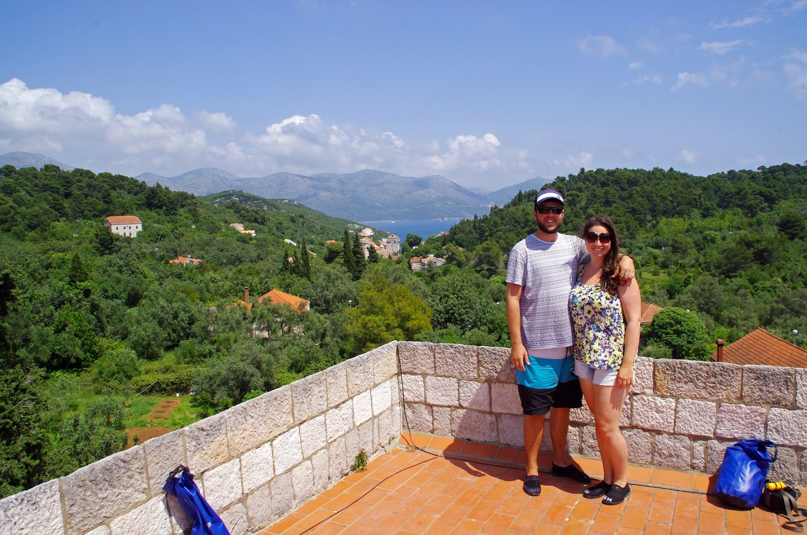 Couple on Sipan Island Croatia with views of Elafiti Islands
