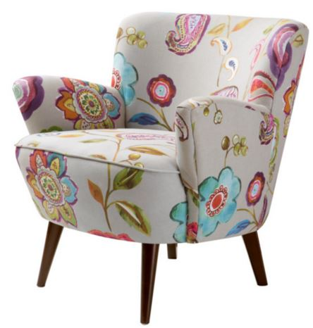mid century modern seating chair accent furniture home decor floral pattern