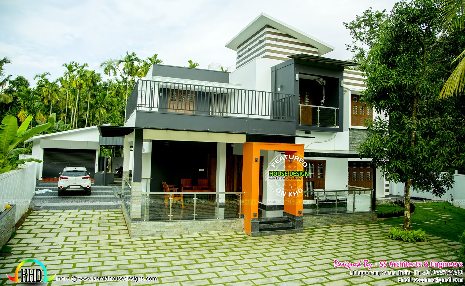 Interiors and exteriors of 5 bedroom contemporary home for Contemporary home designs kerala