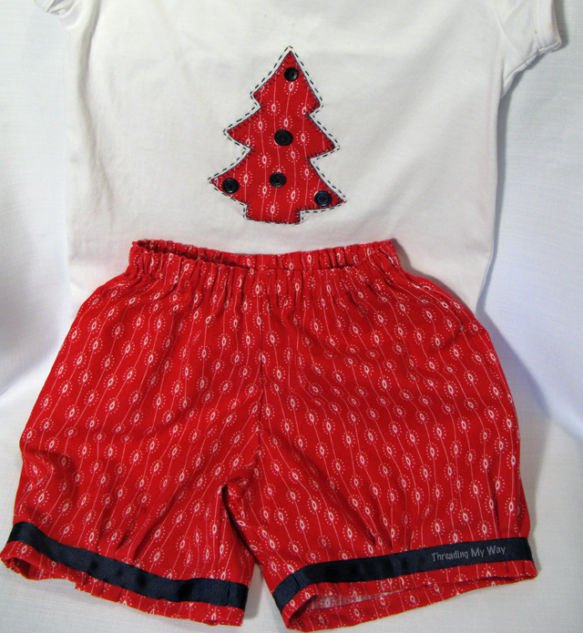 Christmas shorts and tee set. Hand appliquéd Christmas tree ~ Threading My Way