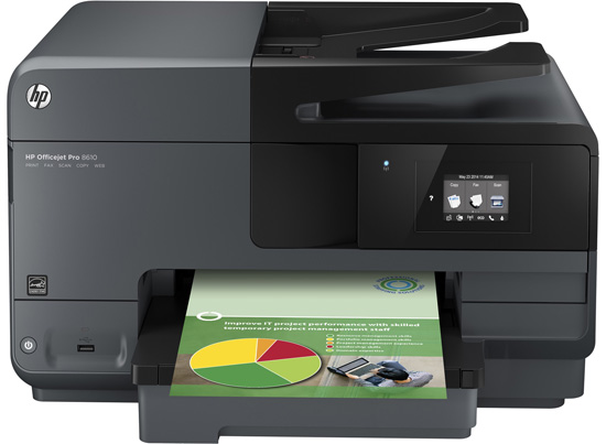 Each page has a professional person hold back yesteryear using Original HP paint inks for brilliant impressions  HP Officejet Pro 8610 Driver Download