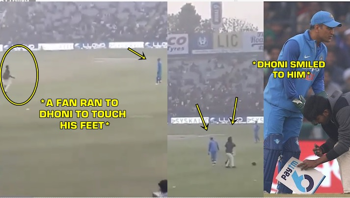 A die-hard fan rushes out to touch MSD's feet