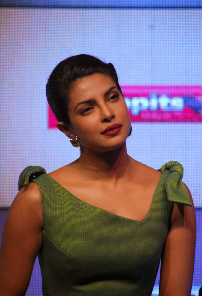 Priyanka Chopra at Hoppit Chocolate Launch in green gown