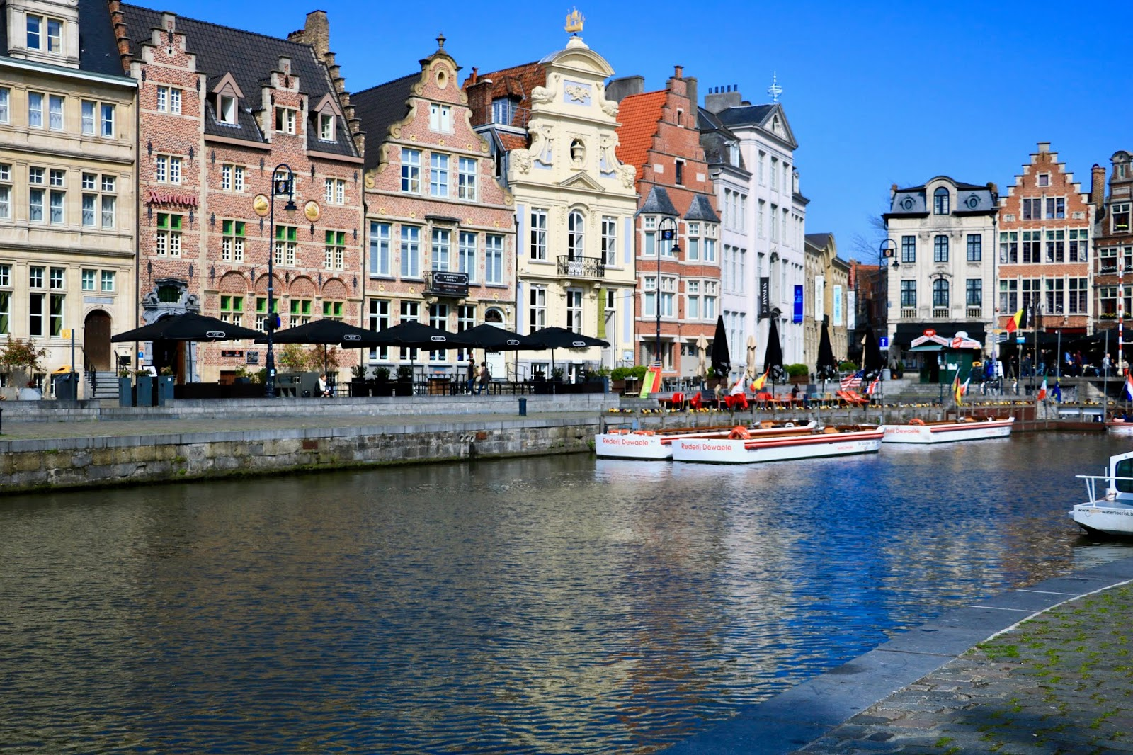 The Lys River in Ghent, Belgium in April 2019