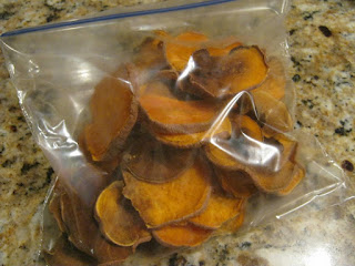 Store your dog's homemade sweet potato chips in a plastic bag.