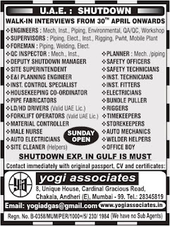 Job openings in Shutdown project UAE